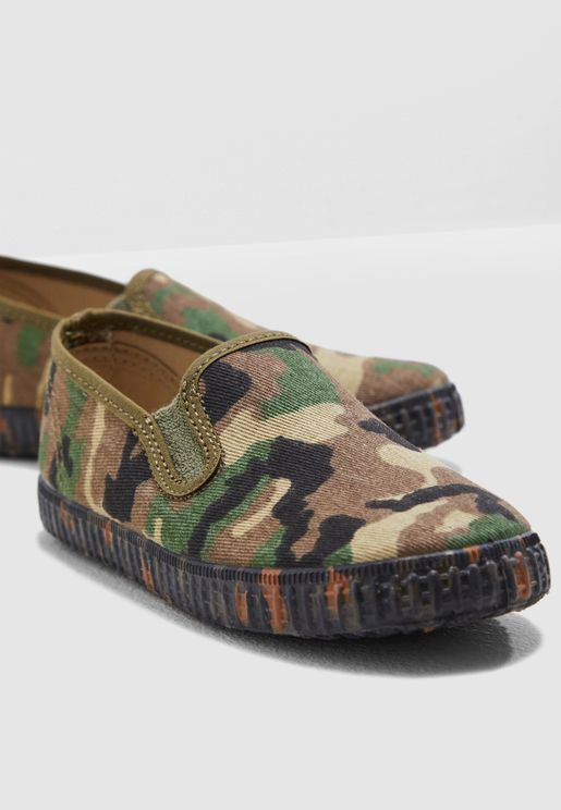 Kids Camo Slip On