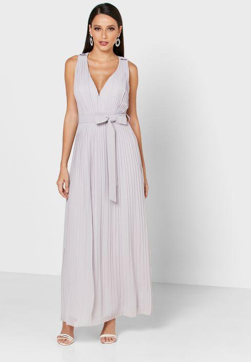 Pleated Tie Waist Dress