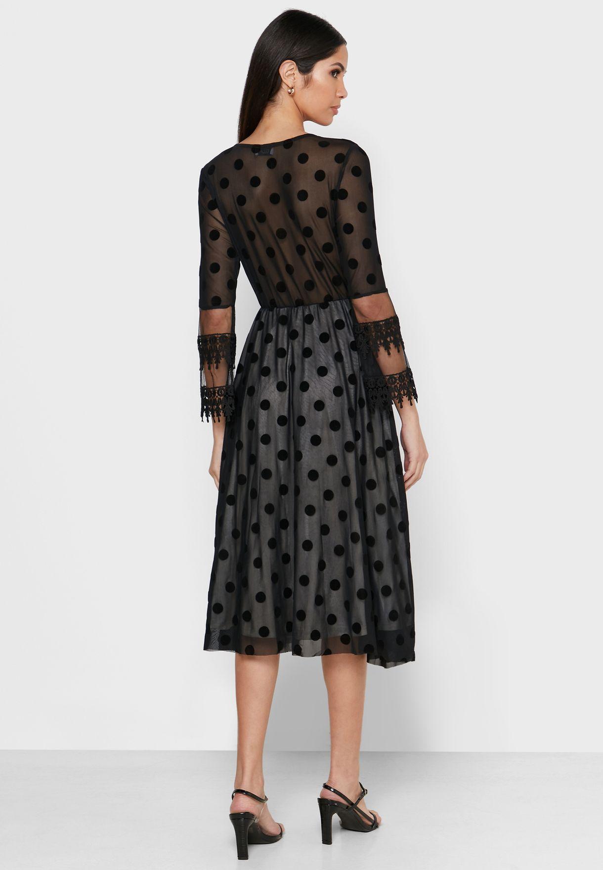فستان ميدي بطباعة نقاط
