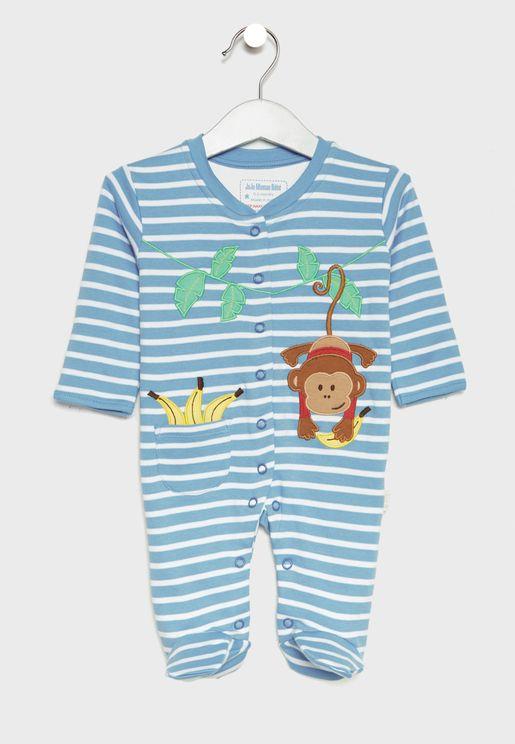 Monkey Appliqué Baby Sleepsuit