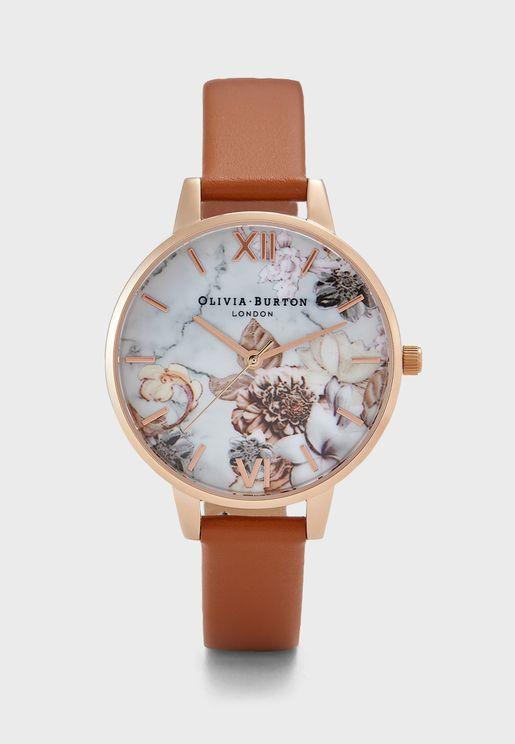 ساعة بطبعات زهور