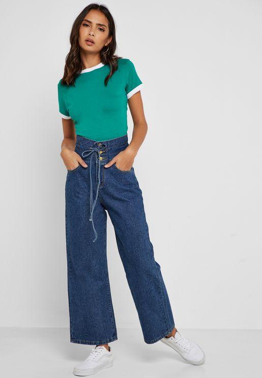 Paperbag Waist Wide Leg Jeans