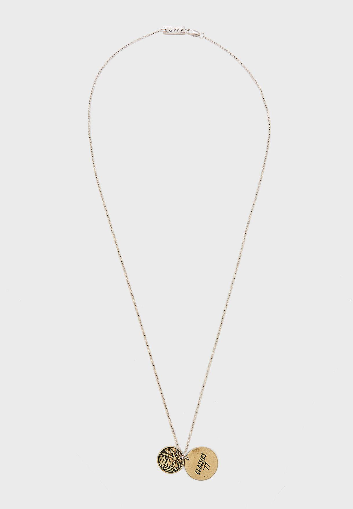 Palm Tree Token Pendant Necklace