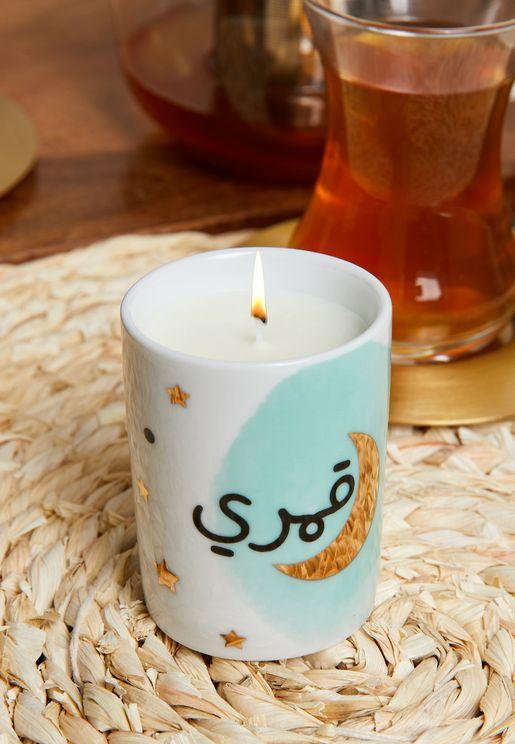 شمعة عطرية بطباعة قمري