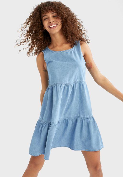 Crew Neck Pleated Dress