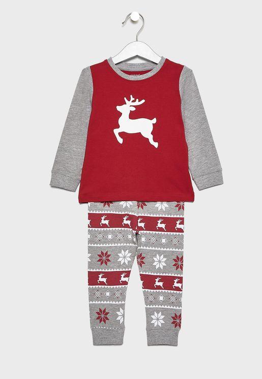 Christmas Kids Printed Pyjama Set