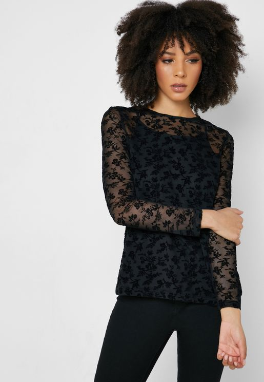 Sheer Detail Jacquard Top