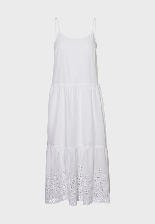 Ruffle Hem Cami Strap Dress