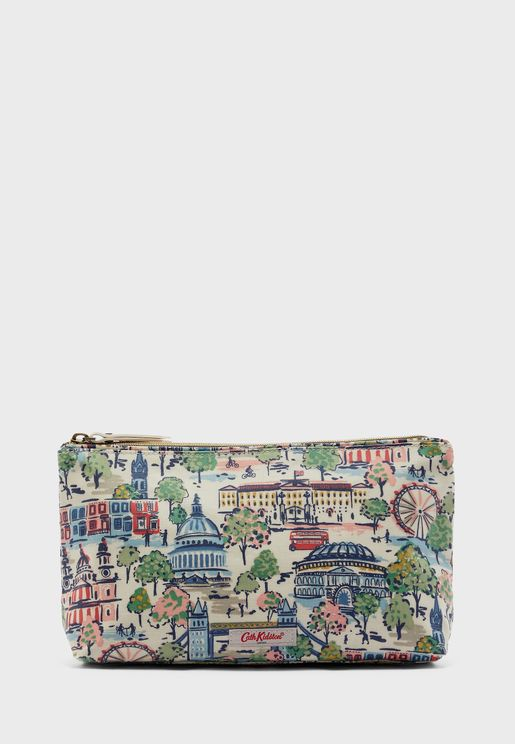 Printed Zip Detail Cosmetic Bag
