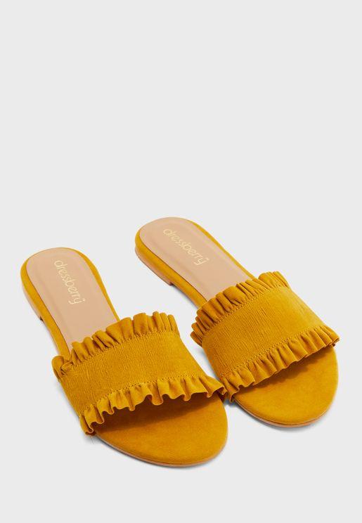Frilled Wide Strap Flat Sandal