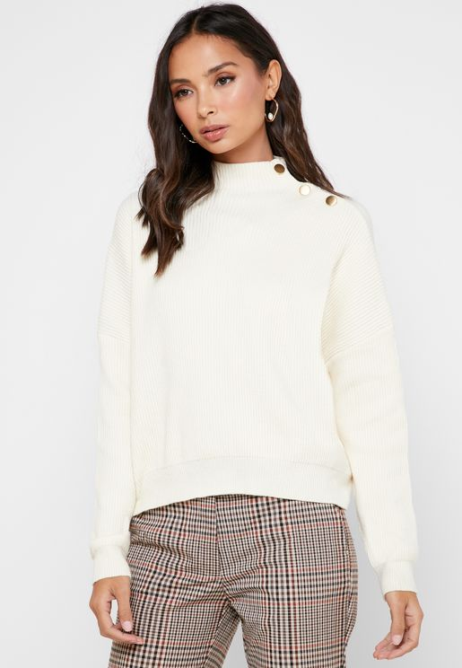 High Neck Button Detail Ribbed Sweater