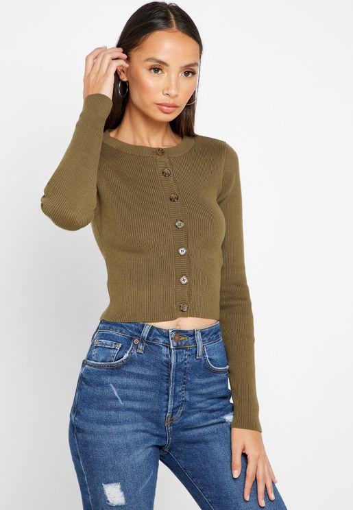 Button Down Ribbed Cropped Cardigan