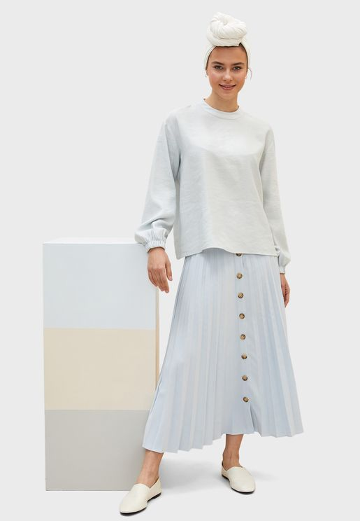 Button Down Pleated Skirt