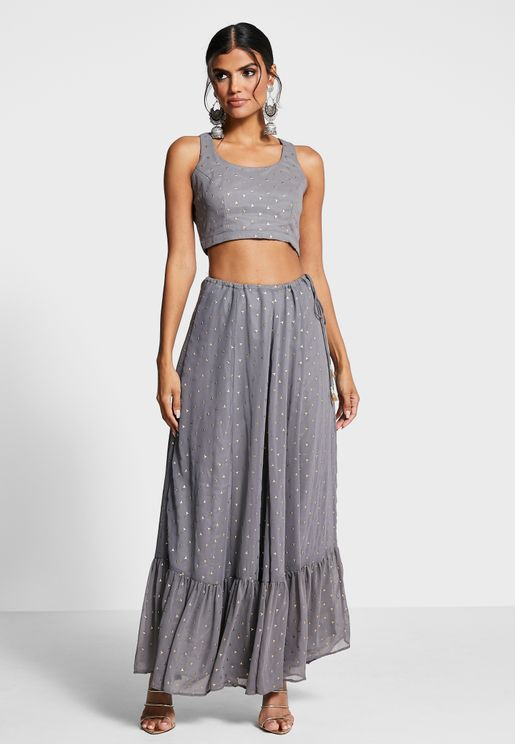 Indya X Payal Singhal Grey Foil Ruffled Maxi Skirt