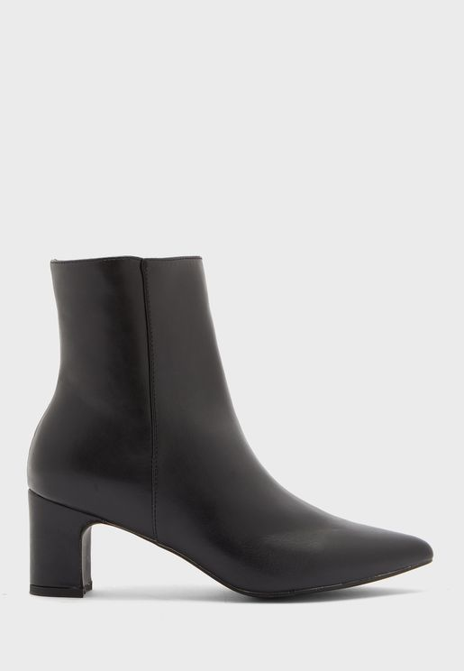 Rounded Mini Block Heel Ankle Boot