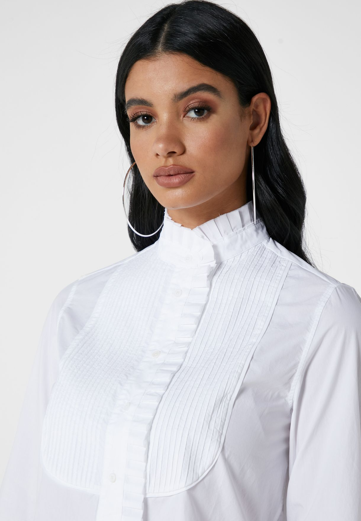 Choice Ruffle Neck Button Down Shirt