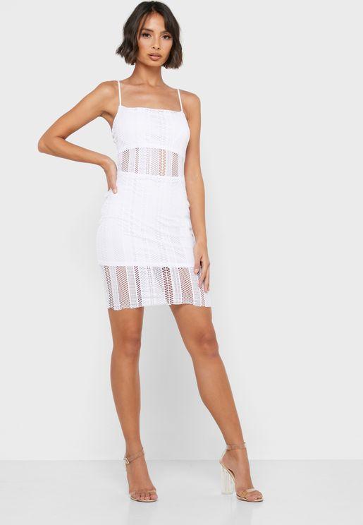 Sheer Detail Lace Dress