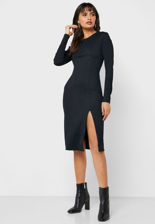 Front Split Ribbed Dress