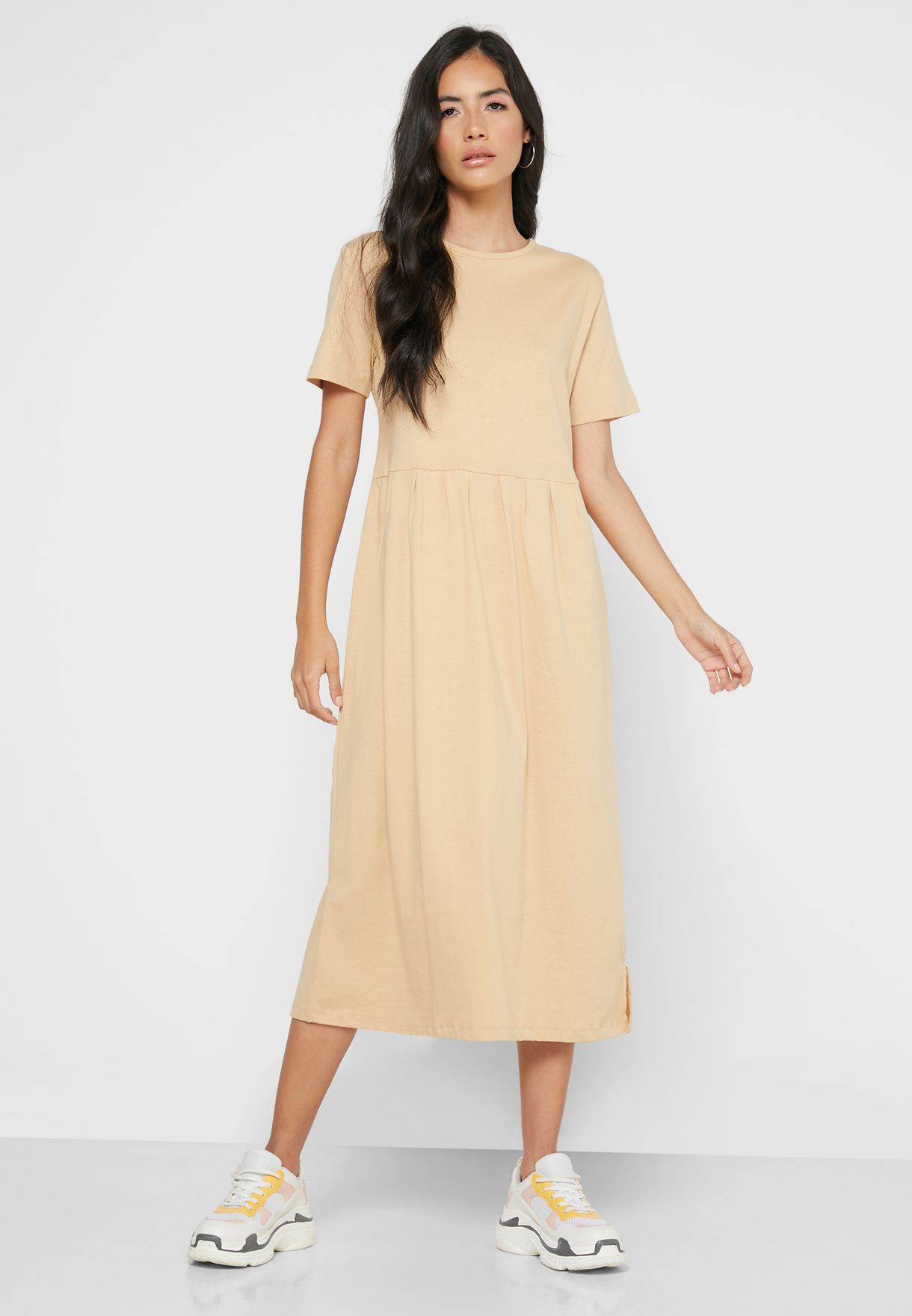 Pleated T-Shirt Midi Dress