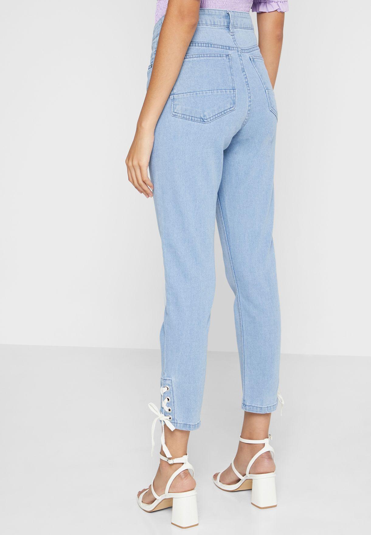 Eyelet Tie Detail Jeans