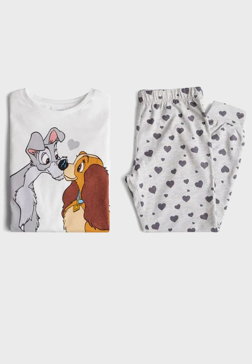 Kids Graphic T-Shirt + Printed Pyjama Set