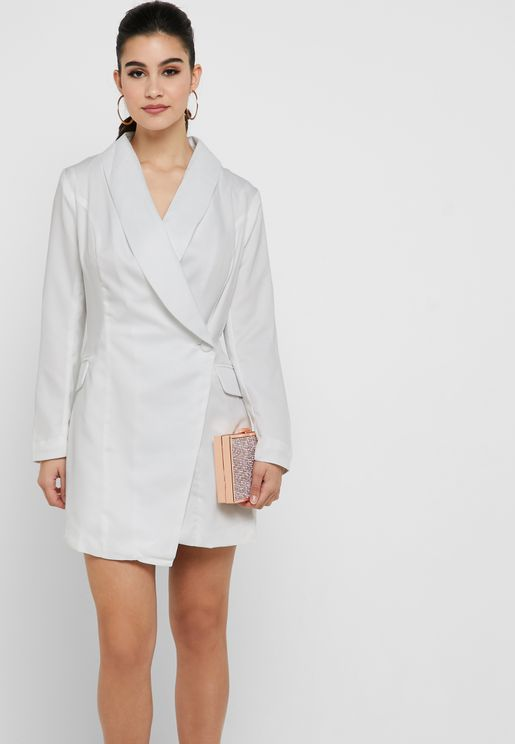 Asymmetric Blazer Plunge Dress