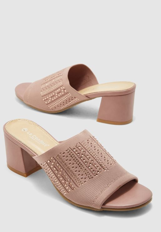 Wide Strap Block Heel Sandal