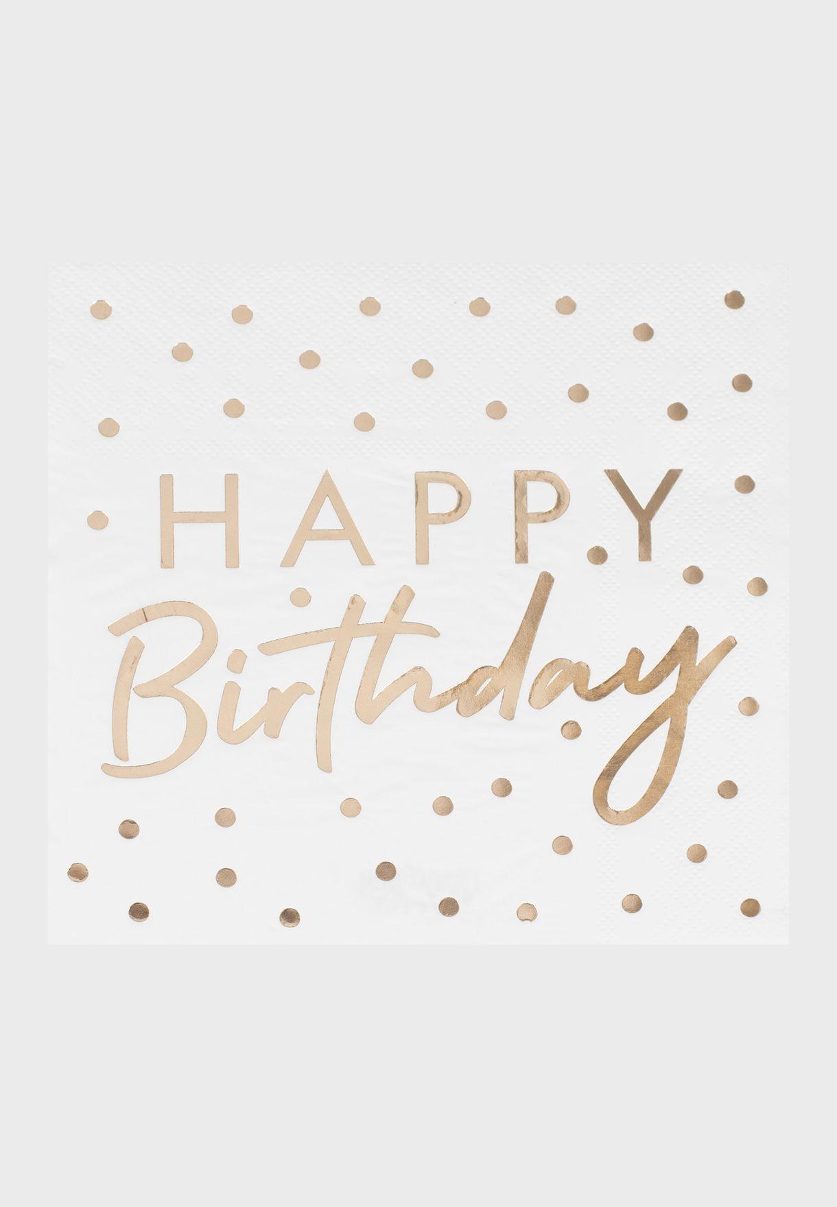 Gold Foiled Happy Birthday Napkin