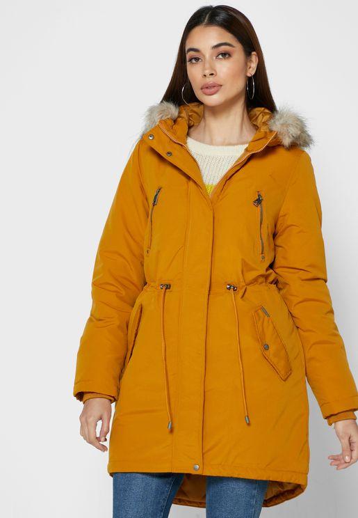 Longline Faux Fur Detail Hooded Jacket
