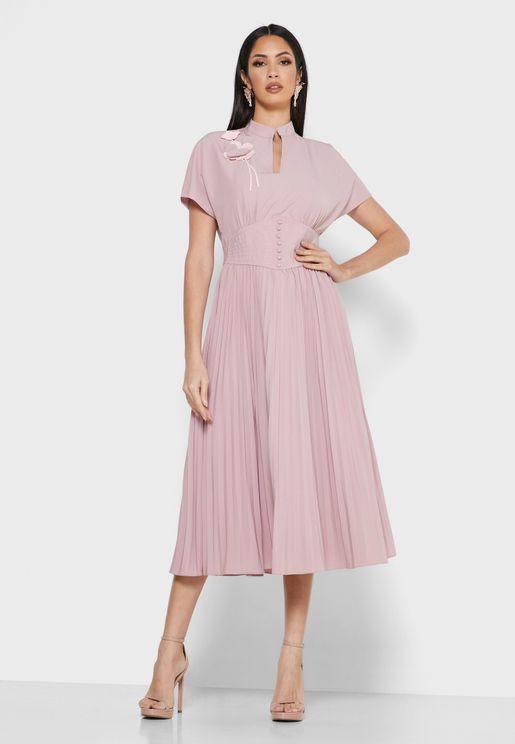 Pleated Notch Neck Dress