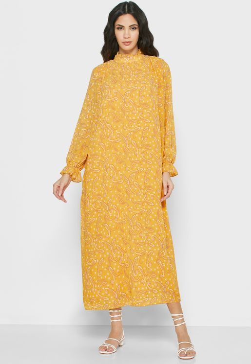 Printed Flute Sleeve Dress