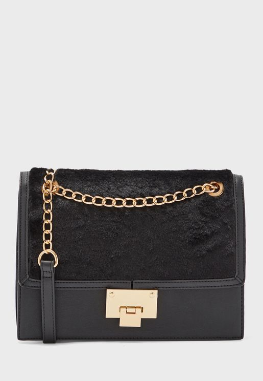 Frida Fur Chain Detail Crossbody
