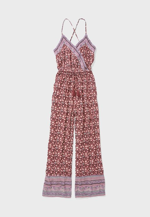 Printed Surplice Jumpsuit