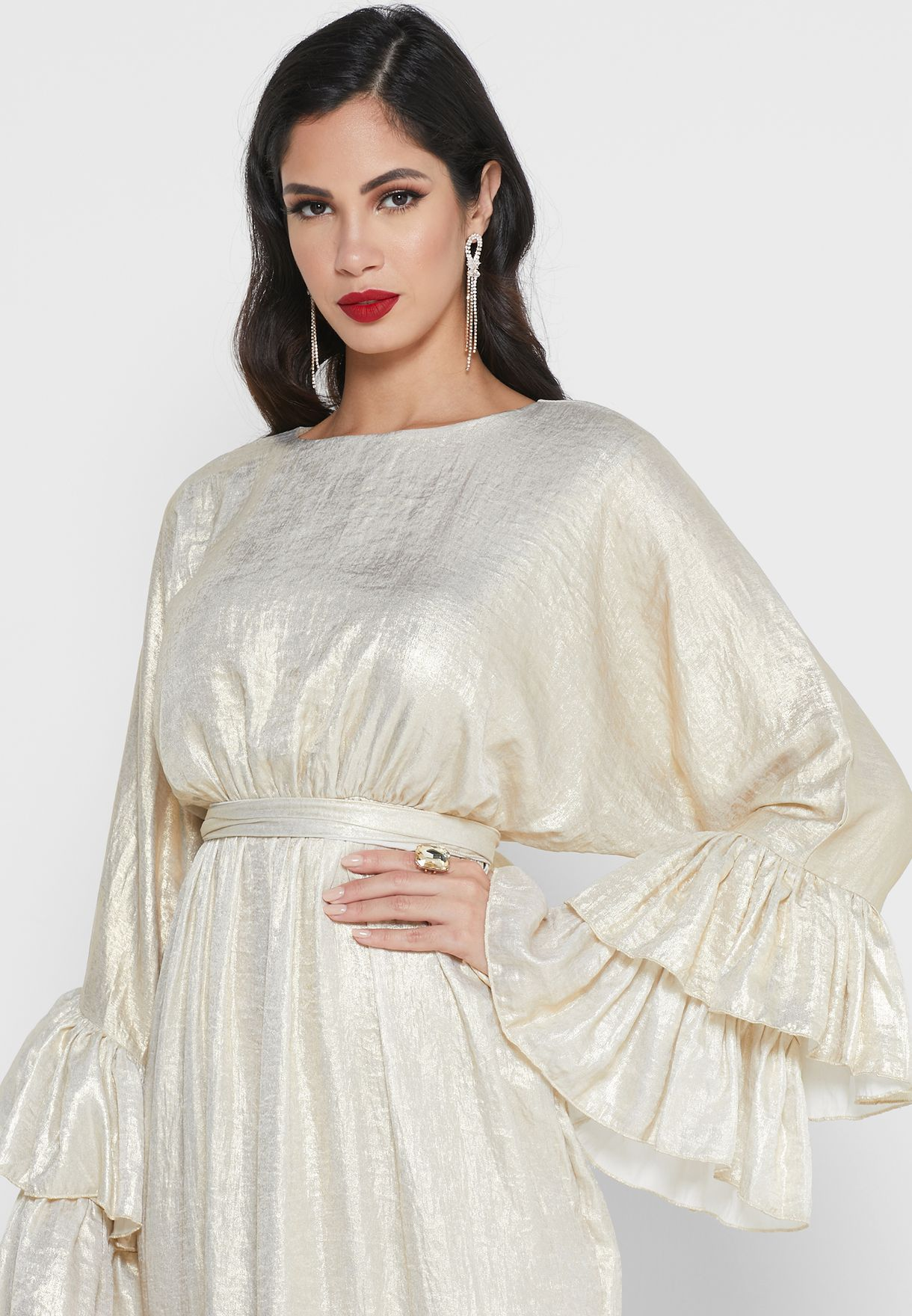 Tiered Sleeve Button Front Maxi Dress