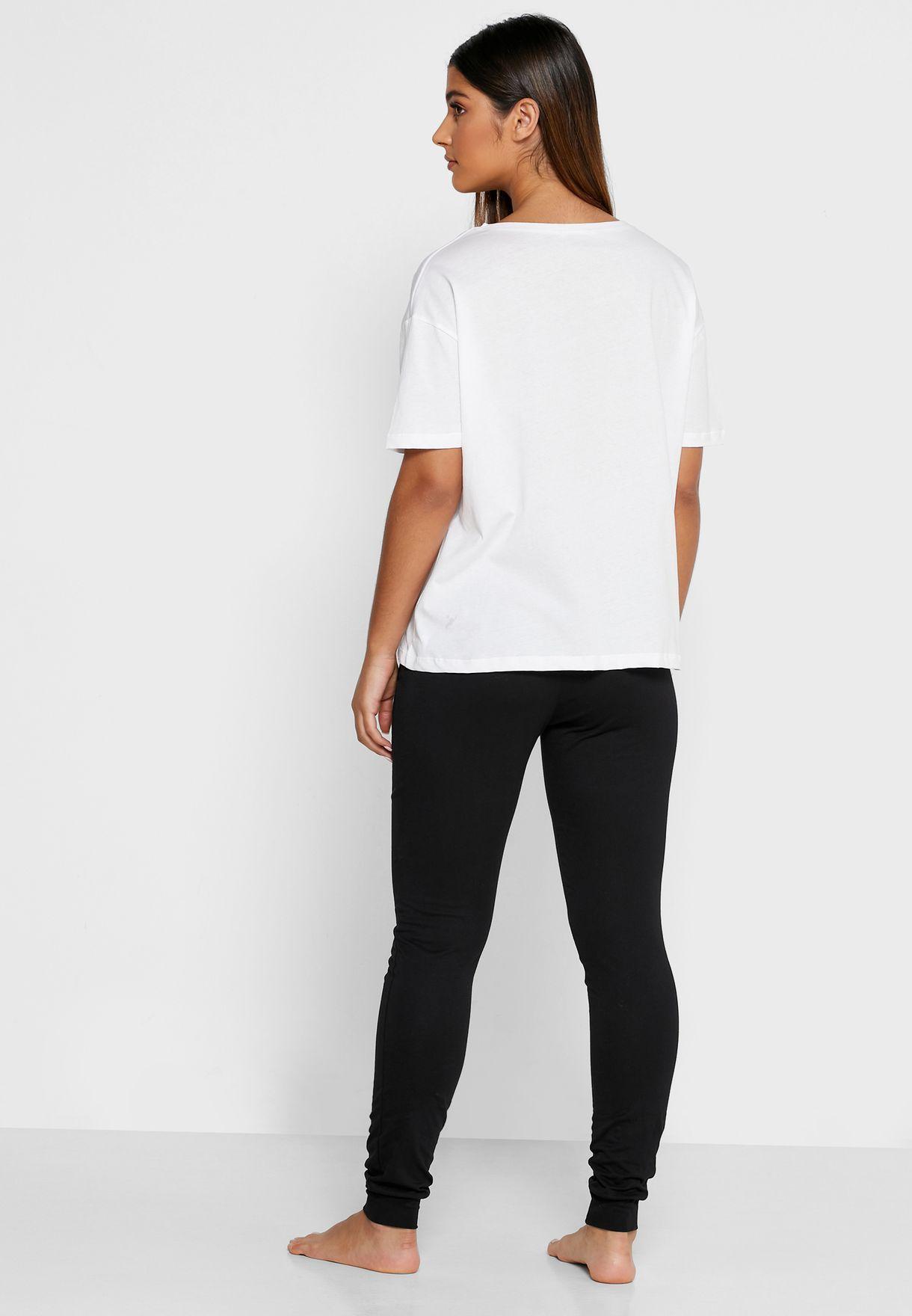Slogan Print T-Shirt & Pyjama Set