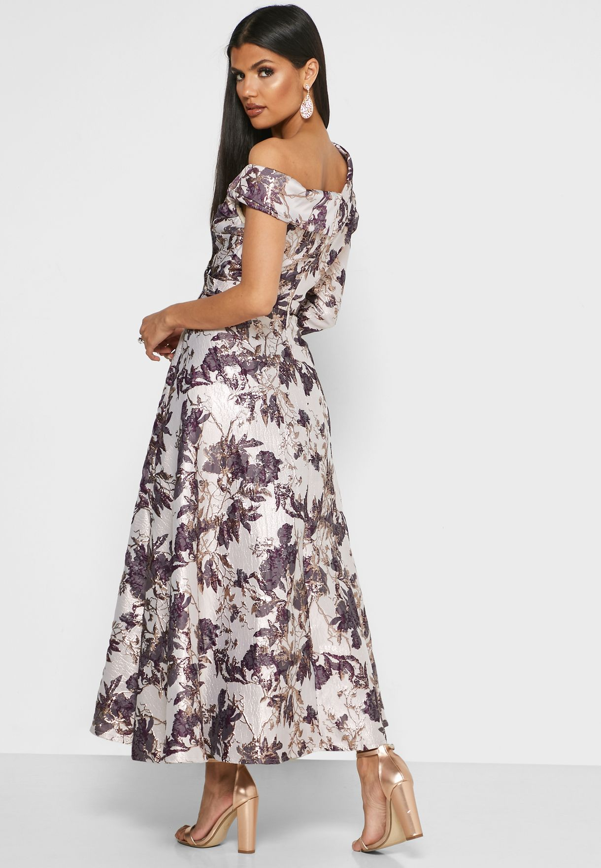 One Shoulder Jacquard Dress