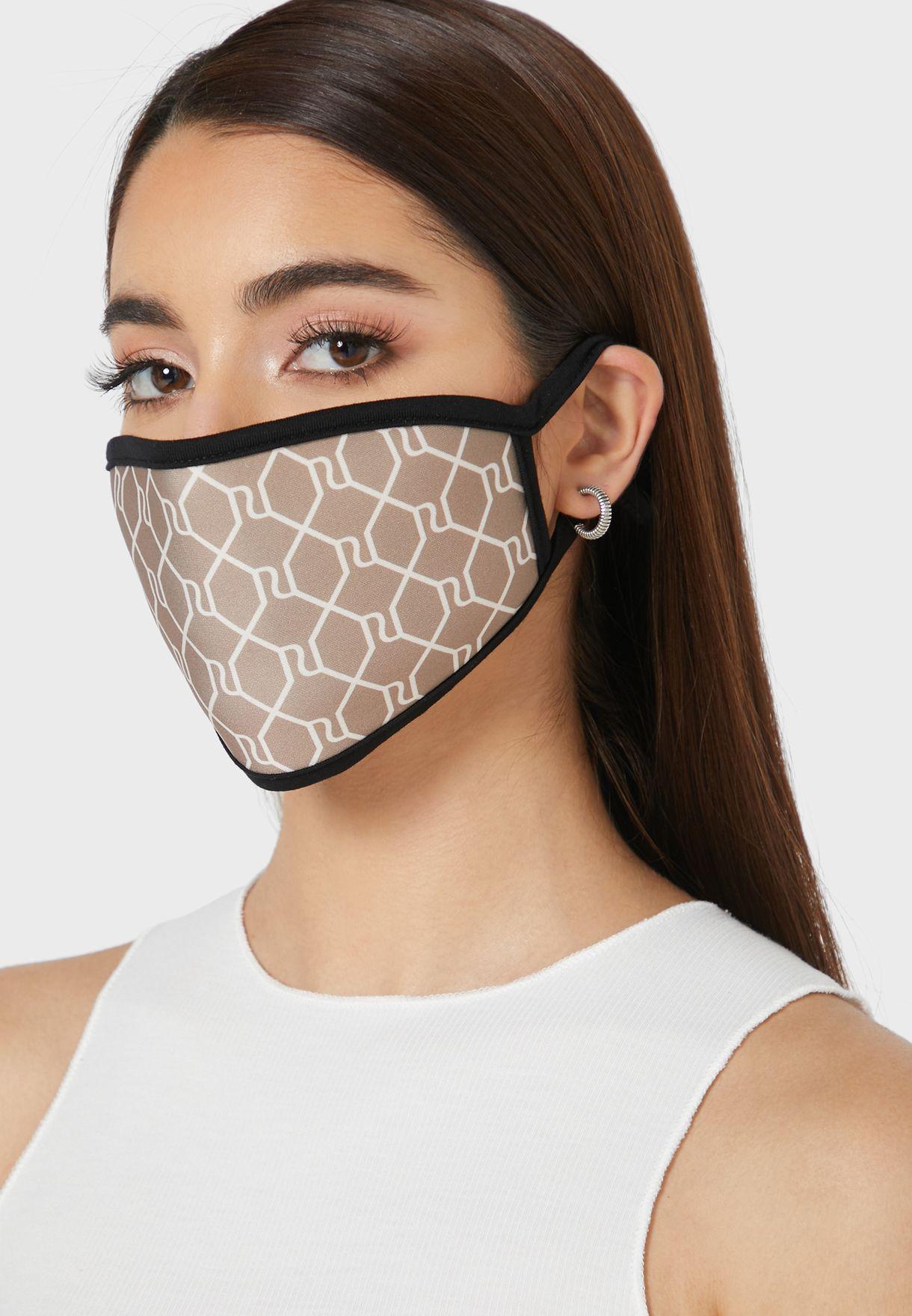 2 Pack Of Animal Printed Logo Mask