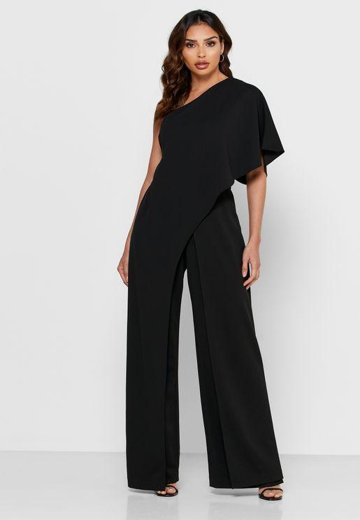 Wide Sleeve One Shoulder Jumpsuit