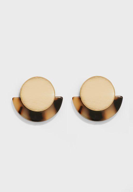 Circle And Tortoise Fan Stud Earrings