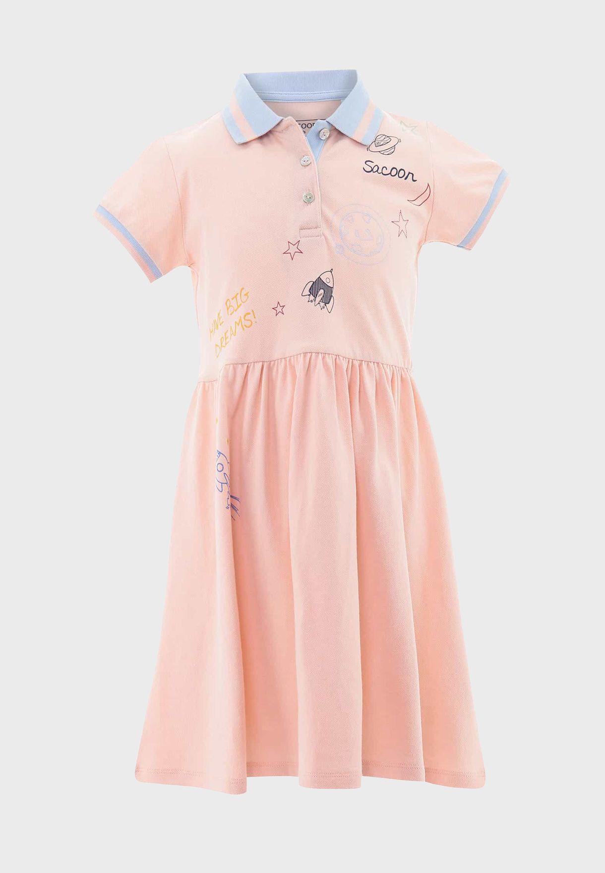 Kids Printed Polo Dress