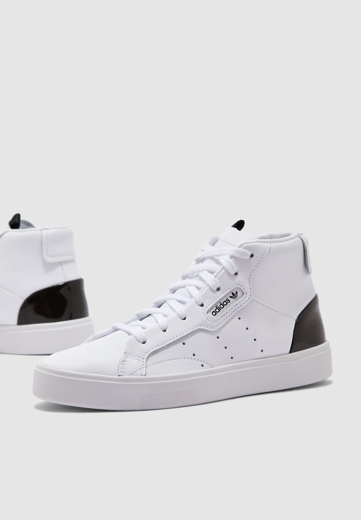 Details about Adidas Sleek Mid Women Shoes Ladies Casual High Top Sneaker White Black EF0701 show original title