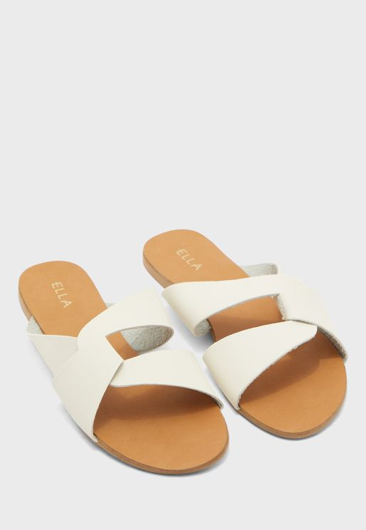 Cross Over Sandals In Textured Fabric