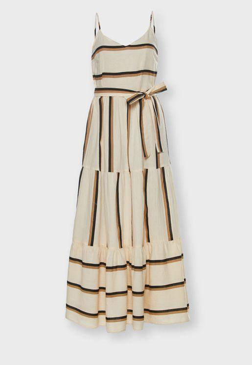Tie Waist Ruffle Hem Striped Dress