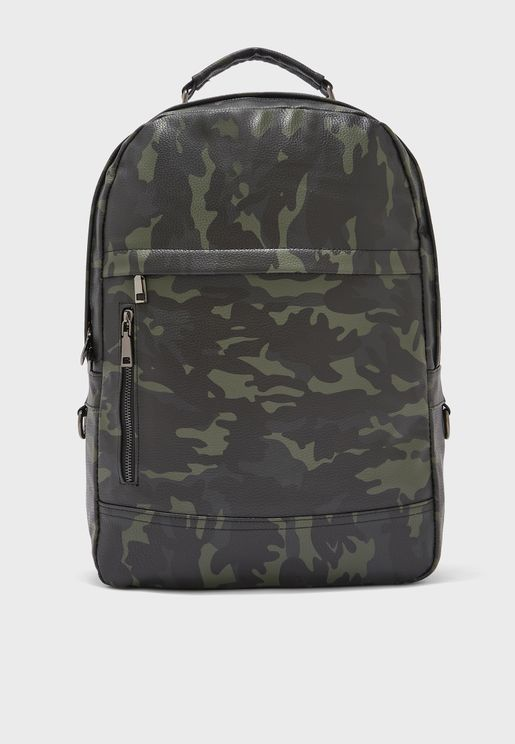 Faux Leather Camo Backpack