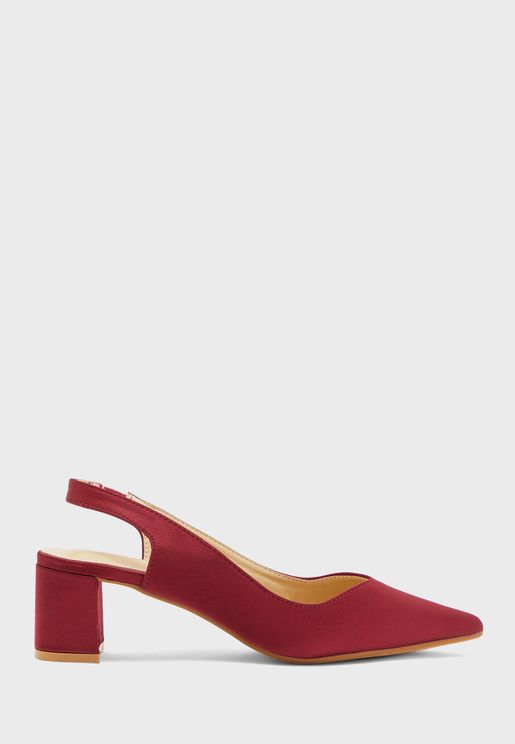 Satin Slingback Pumps