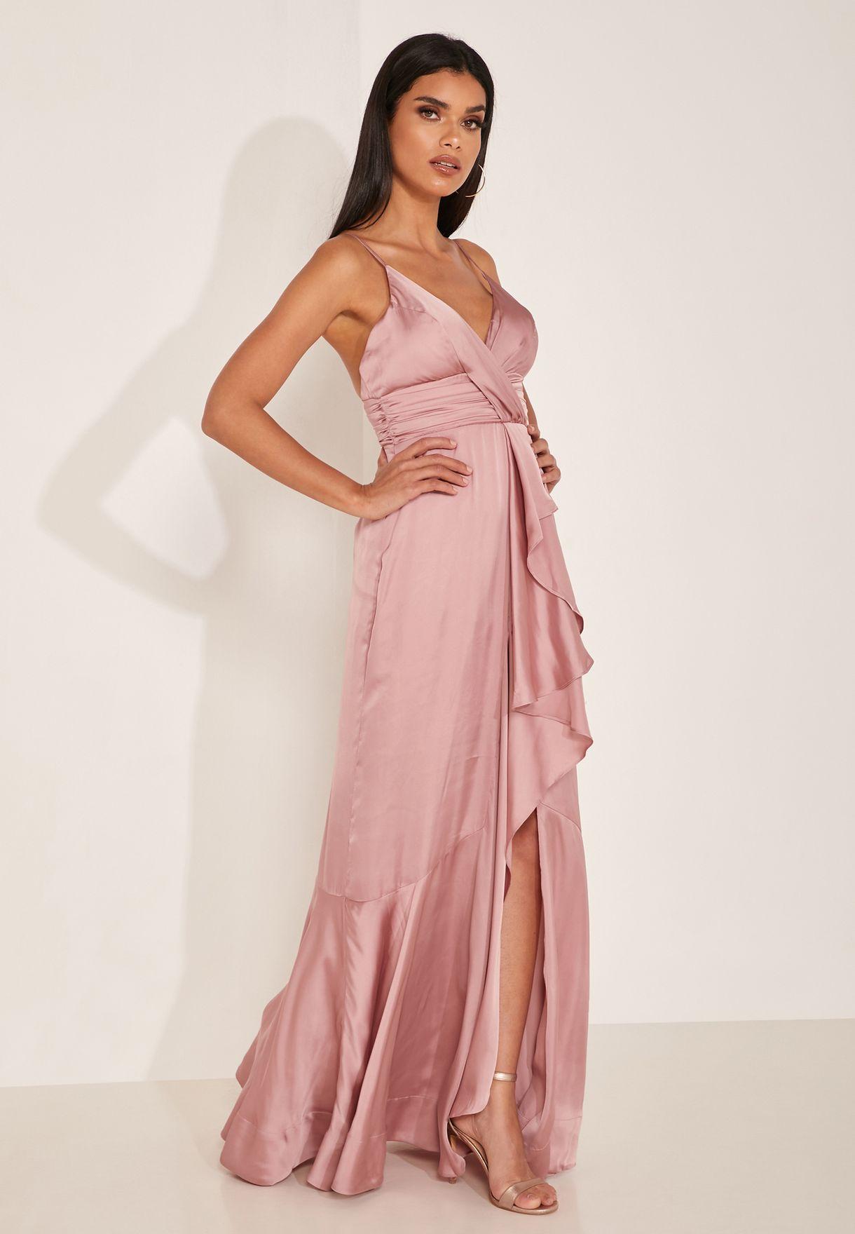 Pearl Ruffle Hem Wrap Gown