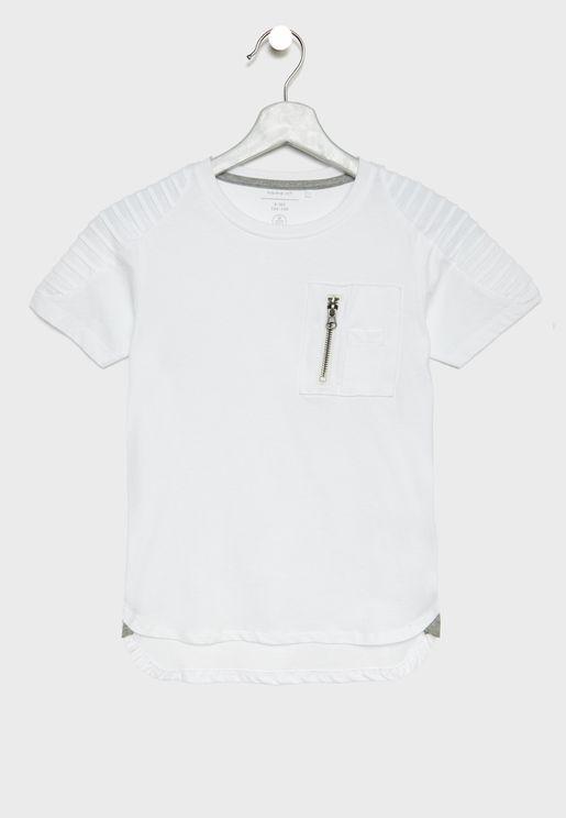 Kids Shoulder Detail Organic Cotton T-Shirt