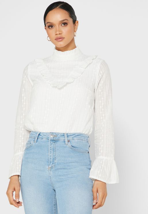 Broiderie Anglaise Ruffle Trim Top