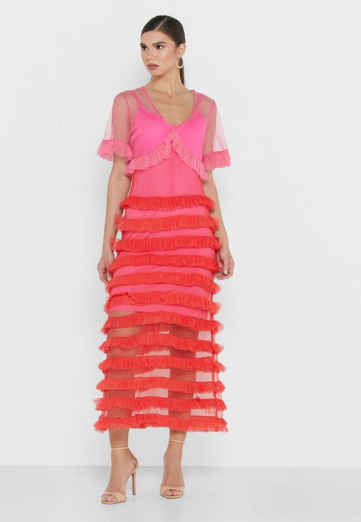 V-Neck Tiered Midi Dress