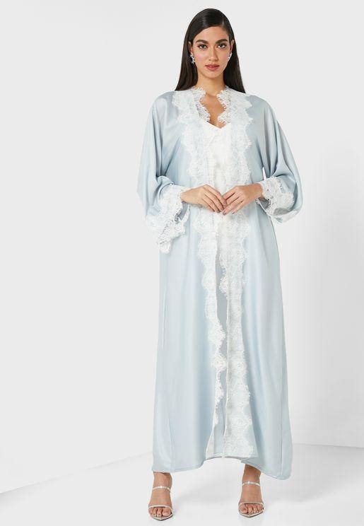 Bluestone Embroidered Abaya